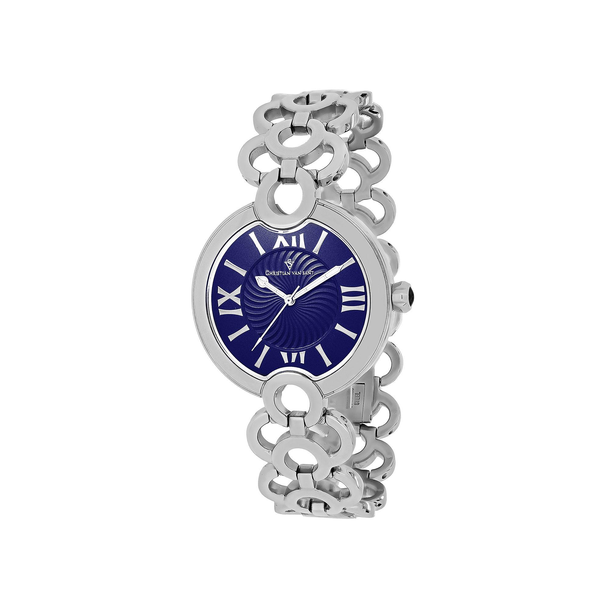 Christian Van Sant Twirl Womens Blue Dial Silver-Tone Bracelet Watch