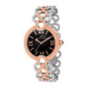 Christian Van Sant Twirl Womens Silver-Tone and Rose-Tone Bracelet Watch