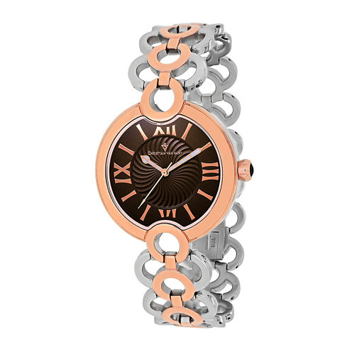 Christian Van Sant Twirl Womens Silver-Tone and Rose-Tone Bracelet Watch