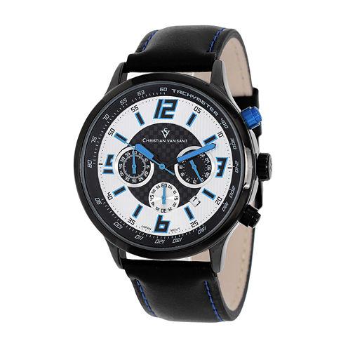 Christian Van Sant Speedway Mens Blue & Black Leather Strap Watch