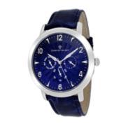 Christian Van Sant Harper Mens Blue Leather Strap Watch