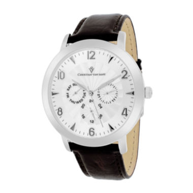 jcpenney.com | Christian Van Sant Harper Mens Brown Leather Strap Watch