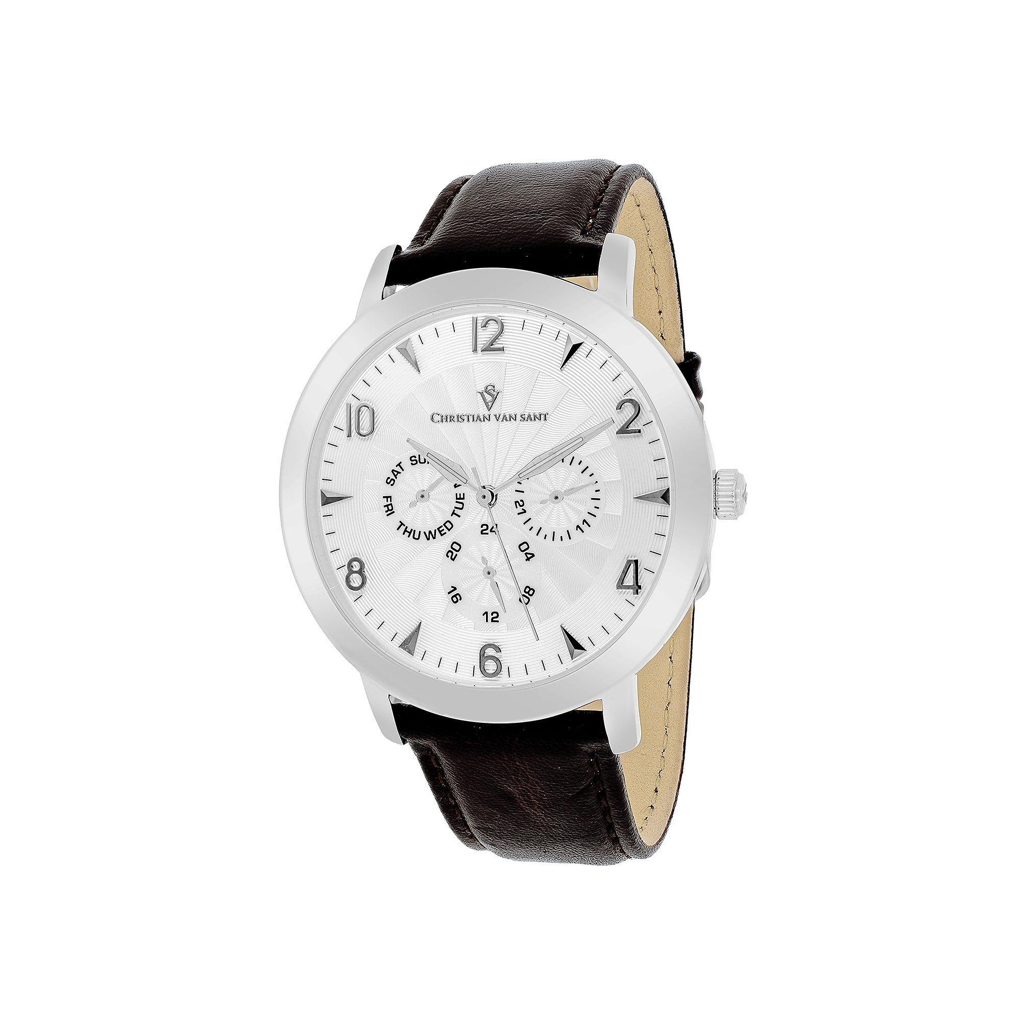 Christian Van Sant Harper Mens Brown Leather Strap Watch