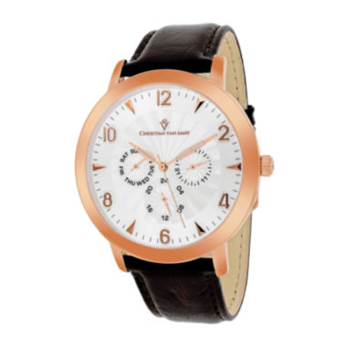 jcpenney.com | Christian Van Sant Mens Harper Brown Leather Strap Watch