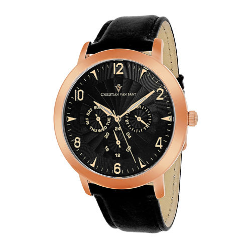 Christian Van Sant Harper Mens Black Strap Leather Watch
