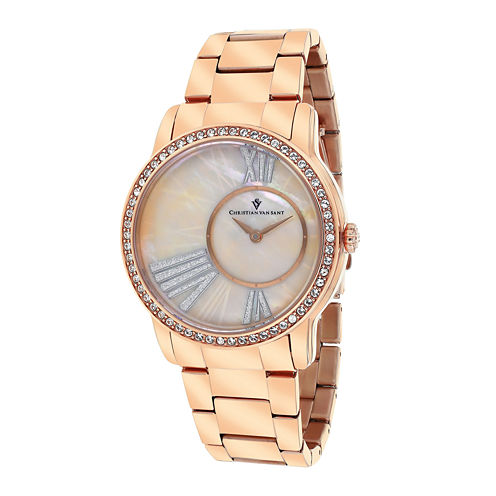 Christian Van Sant Womens Exquisite Pink Faux Pearl Watch