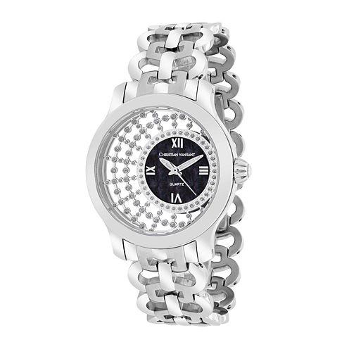 Christian Vant Sant Womens Delicate Silver-Tone & Black Faux Pearl Watch