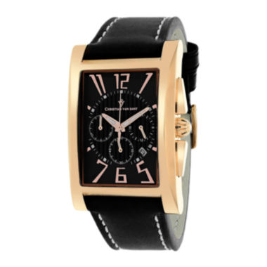 jcpenney.com | Christian Van Sant Mens Cannes Rectangular & Black Leather Strap Watch