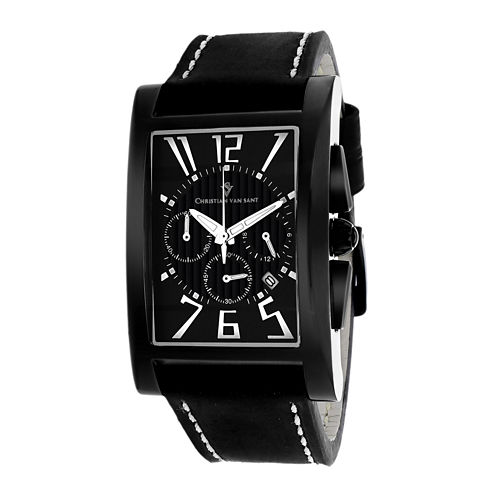 Christian Van Sant Mens Cannes Rectangular & Black Leather Strap Watch
