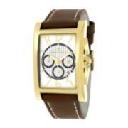 Christian Van Sant Mens Cannes Rectangular White & Black Leather Strap Watch