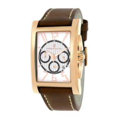 jcpenney.com | Christian Van Sant Mens Cannes Rectangular White & Brown Leather Strap Watch