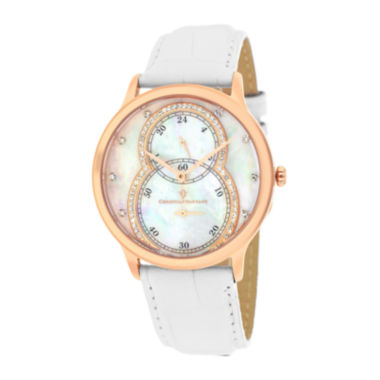 jcpenney.com | Christian Van Sant Infinie Womens Mother-of-Pearl White Leather Strap Watch