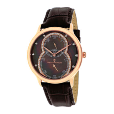 jcpenney.com | Christian Van Sant Infinie Womens Mother-of-Pearl Brown Leather Strap Watch