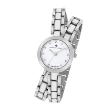 jcpenney.com | Christian Van Sant Spiral Womens White Dial and Silver-Tone Bracelet Watch