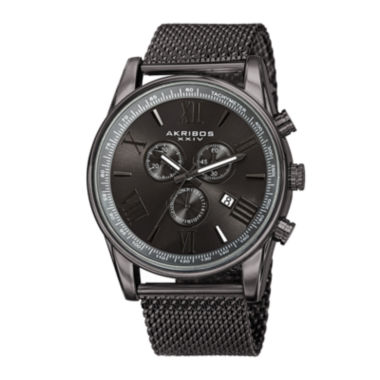 jcpenney.com | Akribos XXIV Omni Mens Gray Stainless Steel Mesh Watch