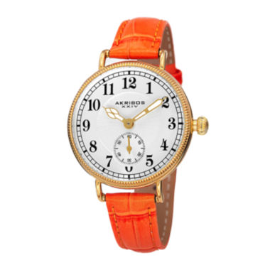 jcpenney.com | Akribos XXIV Velvet Womens Orange Leather Strap Watch