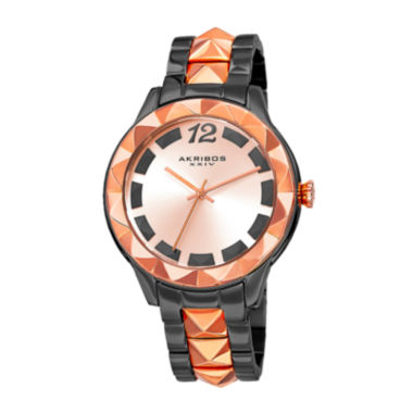 jcpenney.com | Akribos XXIV Ornate Womens Rose-Tone and Black Bracelet Watch