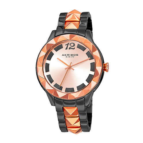 Akribos XXIV Ornate Womens Rose-Tone and Black Bracelet Watch