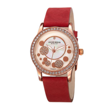 jcpenney.com | Akribos XXIV Ornate Womens Diamond Accent and Crystals Red Leather Strap Watch