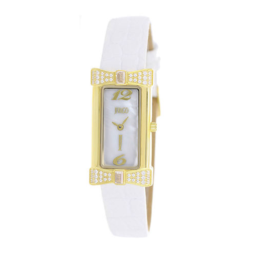 Jivago Charmante Womens Mother-of-Pearl White Leather Strap Watch