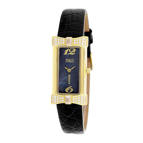 Jivago Charmante Womens Black Mother-of-Pearl and Black Leather Strap Watch