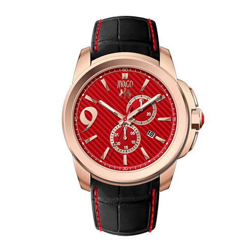 Jivago Mens Gliese Red & Black Leather Strap Watch