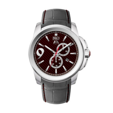 jcpenney.com | Jivago Gliese Mens Red Dial and Gray Leather Strap Watch