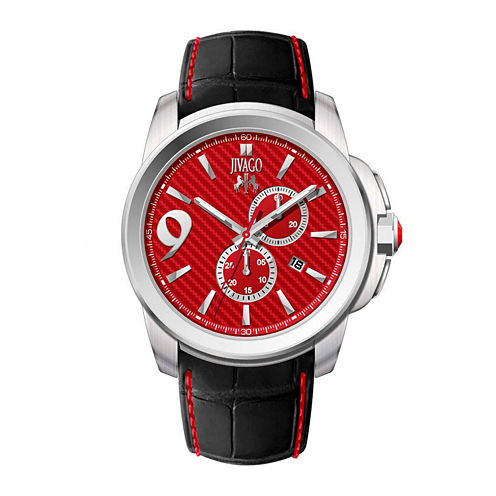 Jivago Gliese Mens Red Dial and Black Leather Strap Watch