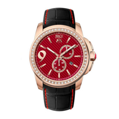 jcpenney.com | Jivago Gliese Mens Red Dial Black Leather Strap Watch