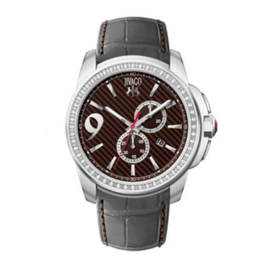 jcpenney.com | Jivago Gliese Mens Red Dial Gray Leather Strap Watch