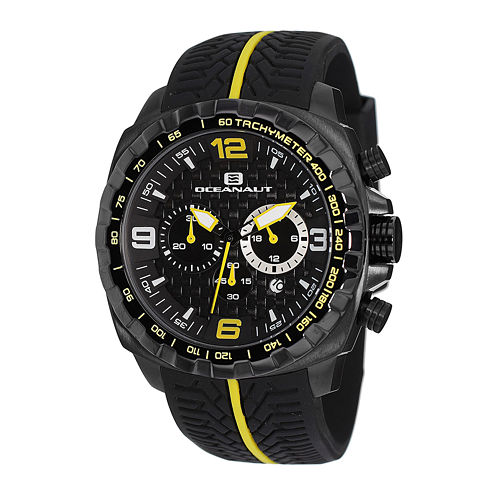Oceanaut Racer Mens Black Silicone Strap Watch