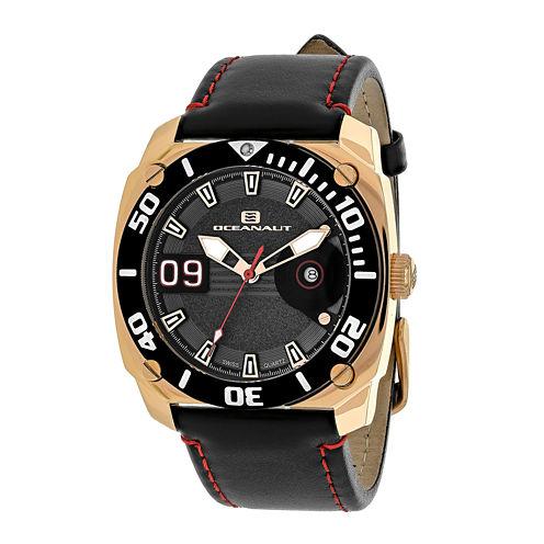 Oceanaut Barletta Mens Gray Dial Black Leather Strap Watch