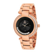 Jivago Celebrate Womens Black Dial Rose-Tone Stainless Steel Bracelet Watch