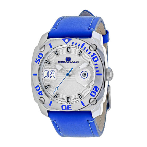 Oceanaut Mens Barletta Silver & Blue Leather Strap Watch