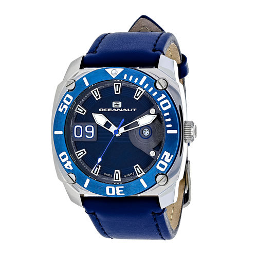 Oceanaut Mens Barletta Blue Leather Strap Watch
