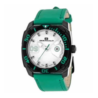 jcpenney.com | Oceanaut Mens Barletta Silver & Green Leather Strap Watch