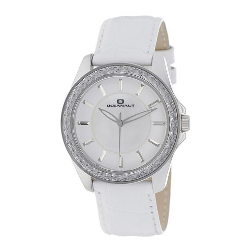 Oceanaut Womens Angel Faux Pearl & White Leather Strap Watch