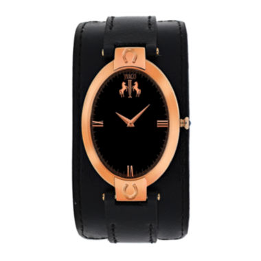 jcpenney.com | Jivago Womens Good Luck Black Leather Strap Watch