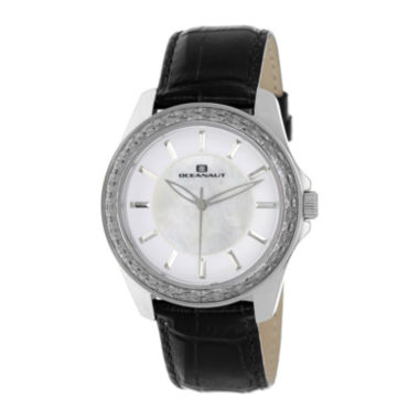 jcpenney.com | Oceanaut Womens Angel White Faux Pearl & Black Leather Strap Watch
