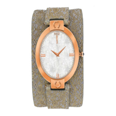 jcpenney.com | Jivago Womens Good Luck White Faux Pearl & Light Brown Leather Strap Watch