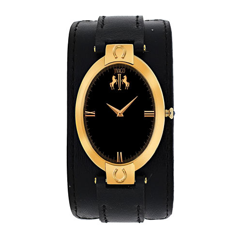 Jivago Good Luck Womens Gold-Tone and Black Leather Strap Watch