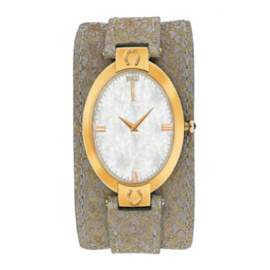 jcpenney.com | Jivago Good Luck Womens Mother-of-Pearl and Brown Leather Strap Watch