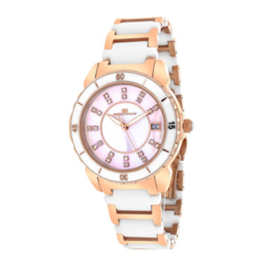 jcpenney.com | Oceanaut Charm Womens Pink Mother-of-Pearl and Black Ceramic Bracelet Watch