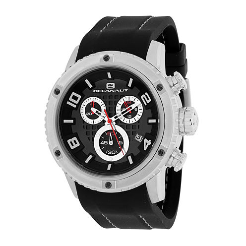 Oceanaut Mens Impulse Black Silicon Strap Chronograph Watch