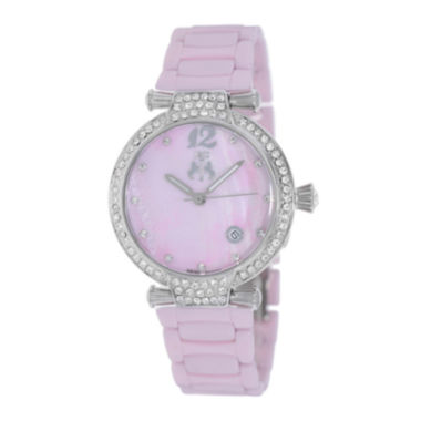 jcpenney.com | Jivago Womens Bijoux Pink Faux Pearl Dial Pink Ceramic Bracelet Watch
