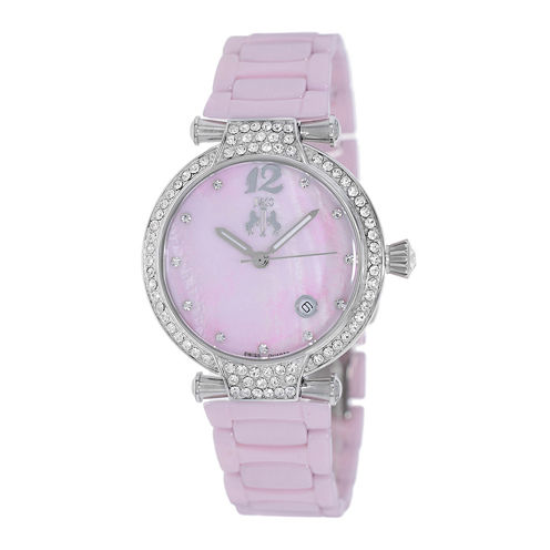 Jivago Womens Bijoux Pink Faux Pearl Dial Pink Ceramic Bracelet Watch