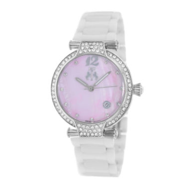 jcpenney.com | Jivago Womens Bijoux Pink Faux Pearl Dial White Ceramic Bracelet Watch
