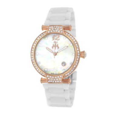 jcpenney.com | Jivago Womens Bijoux Silver Faux Pearl Dial White Ceramic Bracelet Watch