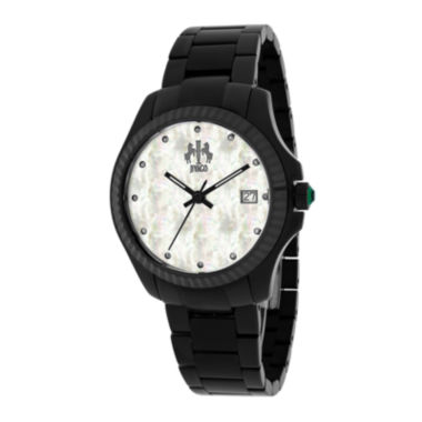 jcpenney.com | Jivago Jolie Womens Mother-of-Pearl and Black Stainless Steel Bracelet Watch