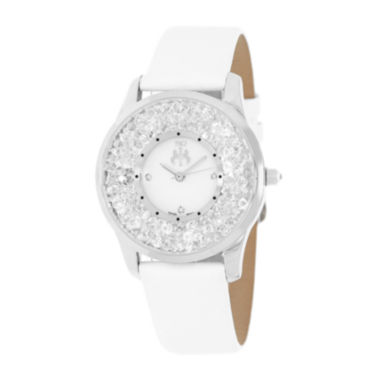 jcpenney.com | Jivago Brilliance Womens Mother-of-Pearl White Leather Strap Watch